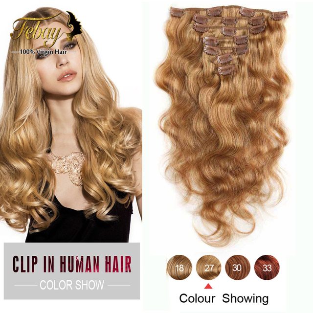 Clip In Human Hair Extensions Brazilian Body Wave Full Head Clip In Hair Extension Human Hair Natural Wavy Hair Clip Ins Bundle