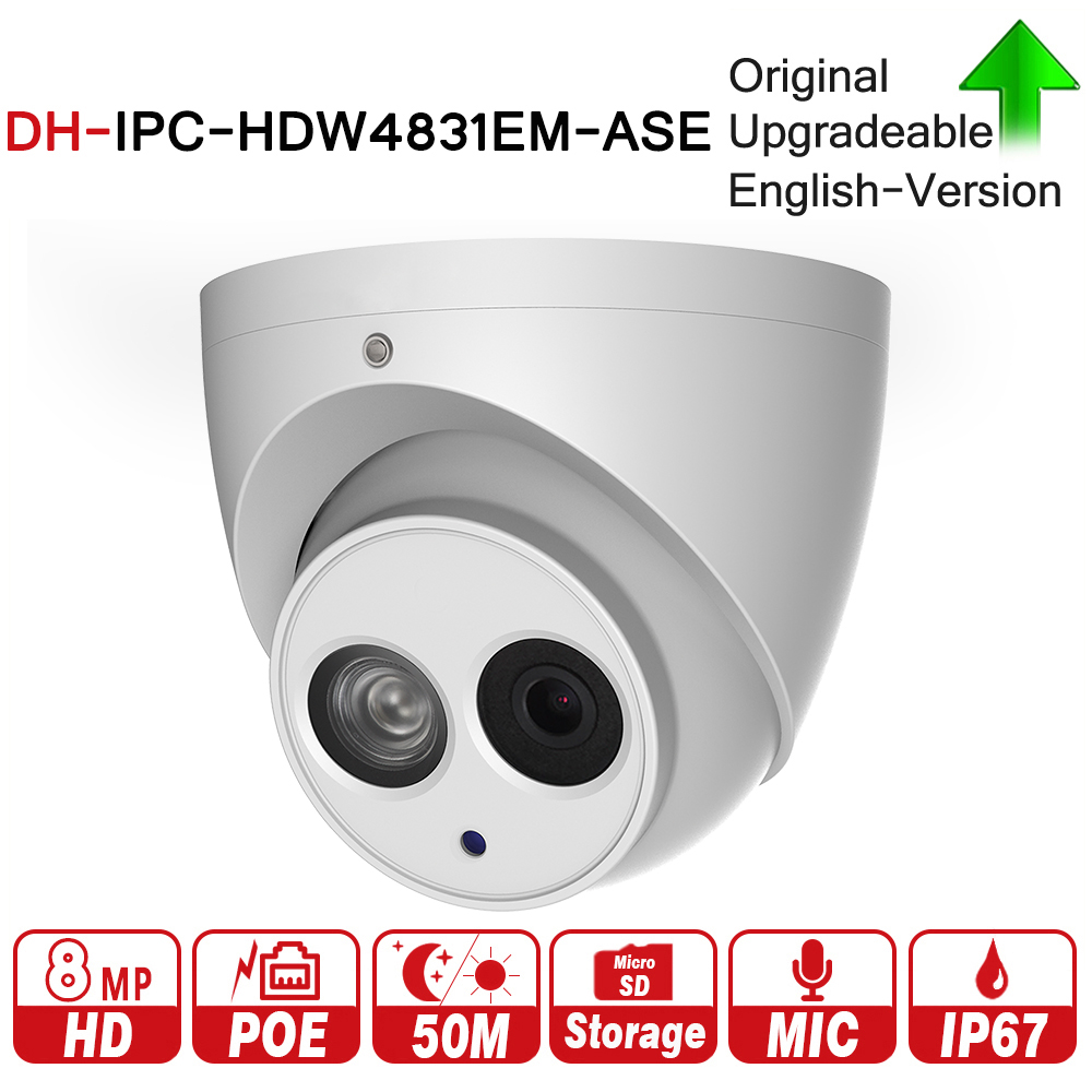 DH 8MP Eyeball Network IP Camera IPC-HDW4831EM-ASE H.265 WDR Smart Detect Built-in Mic 50m IR Support Micro SD Card IP67 PoE dh ipc hfw4431e se 4mp wdr ir mini bullet network ip camera 4k smart detect 40m ir support micro sd card h 265 wdr ip67 poe