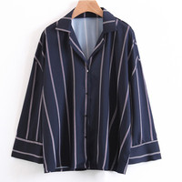 Spring Navy Blue Vertical Striped Women Shirts Loose Sleeve Chic Notched Blouse 2018 European Casual Tops