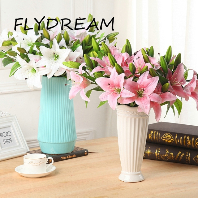 Flydream Lily Artificial Simulation Flower Family Hotel Wedding Party Home Decoration