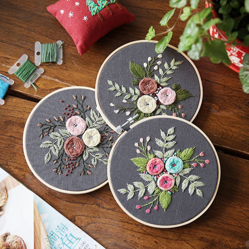 European Flowers DIY Embroidery Ribbon Set With Frame For Beginners Kits Needlework Cross Stitch Arts Crafts Sewing Decoration