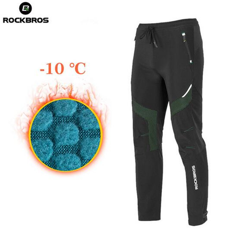 ROCKBROS Winter Pants Cycling Bike Outdoor Sport Pants Waterproof Thermal Fleece Warm Trousers Bicycle Tights Running Bike Pants airgracias winter thermal fleece stretch blue gray denim jeans elasticity jean thicken warm trousers pants large size 34 36