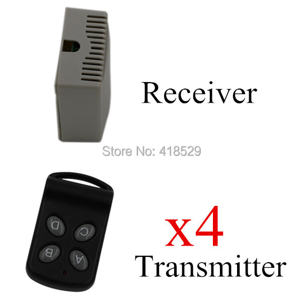 12V Wireless Remote Control Switch,4 CH RF Remote Control Switch System,315/433 MHZ 4 Transmitter And 1 Receiver SKU: 5035 new dc12v 10a mini 1ch rf wireless remote control 4 receiver 4 transmitter 315 433 mhz white black remote control with abcd key
