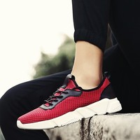 Pure Color Super Light Cushioning Non Slip Speed Walking Trekking Air Running Shoes For Men Red