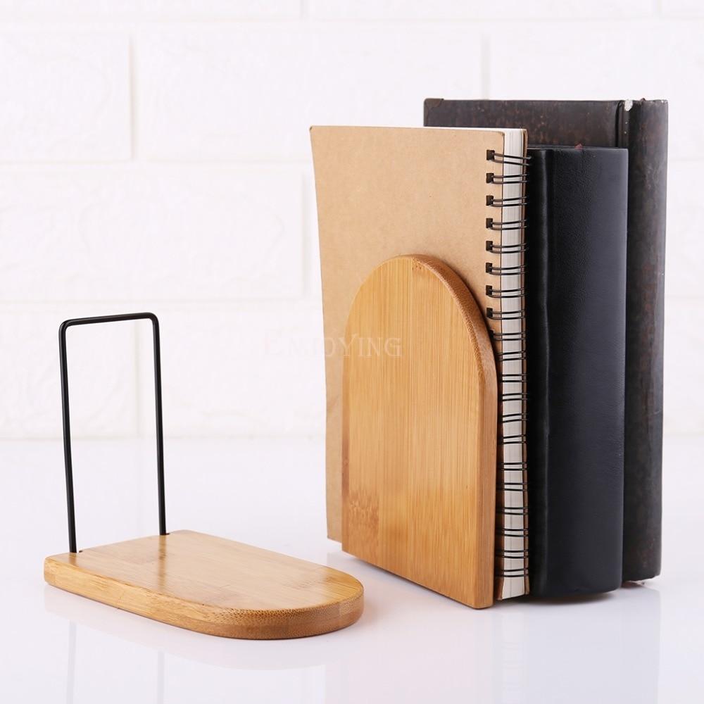 Nature Bamboo Desktop Organizer Office Home Bookends Book Ends Stand Holder Shelf Bookrack