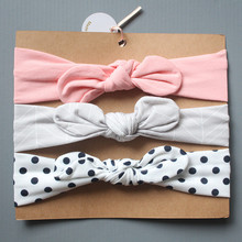 Resale 3PCS/lot Good Quality Comfortable Hairbands Girls and Boys Kids Headband Bowknot Toddlers Cotton Material Pink Hair Band