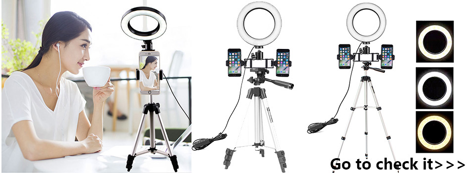 New Led Ring Flash Lights With Holder For iPhone Xiaomi Huawei Samsung Phones 8