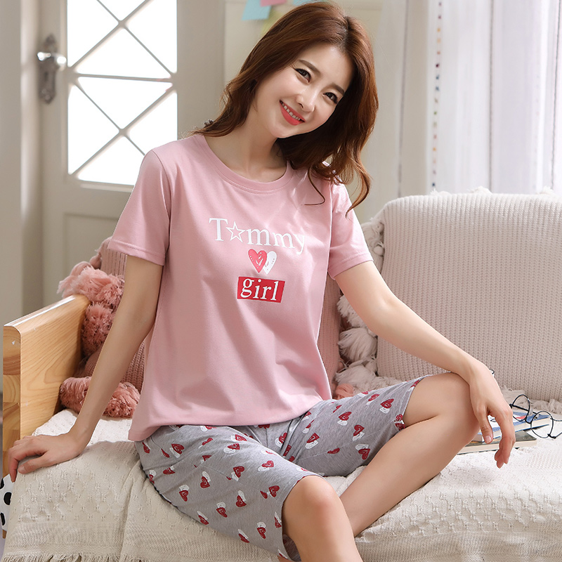 Image 3 - Summer Pajamas For Women Short Tops+Calf length Pants 100%Cotton Casual Loose Soft Plus Size M 5XL Women Pajamas Sets-in Pajama Sets from Underwear & Sleepwears
