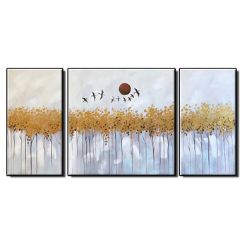 100% Hand Painted 3 Pieces Canvas Oil Painting Gold Foil Wall Art Painting Modern Newest Home Decor Paintings Art Free Shipping