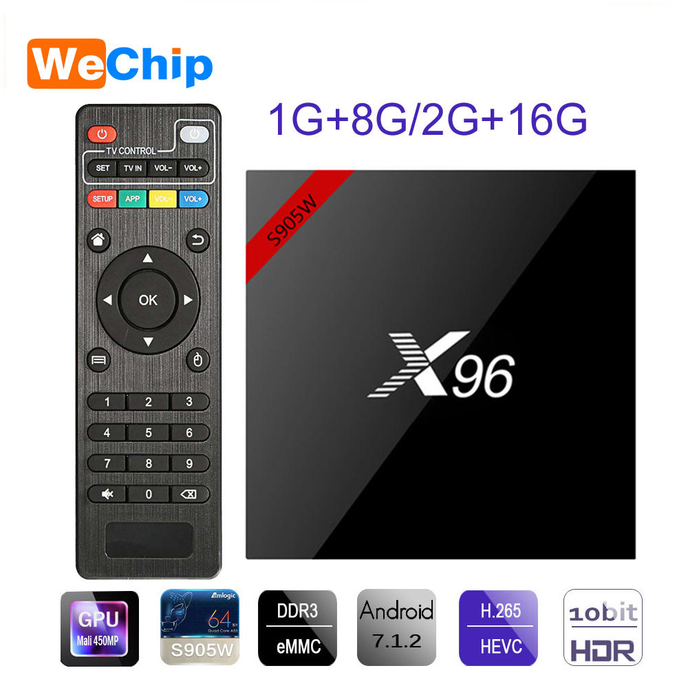 X96W Android 7.1 TV BOX 2G + 16G Amlogic S905W Quad Core Suppot H.265 4 K 30tps 2.4 GHz WiFi Google lecteur multimédia IP TV Box