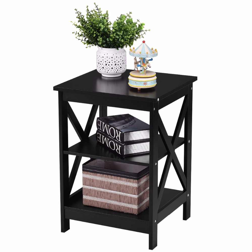 Goplus 3 Tiers Nightstand Modern End Table Storage Display Shelf Living Room Furniture White New Side Coffee Tables HW56201