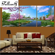 FULLCANG 5d diamond embroidery spring landscape painting cross stitch triptych full square rhinestone mosaic E1112