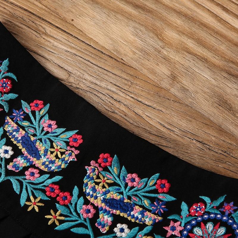 En Femelle Haute Loisirs Pantalon Femmes Lady Lâche Haut Gamme Hip xl Bas Large M Vintage Noir Brodé Taille hop Littéraire De XFqw1xUf