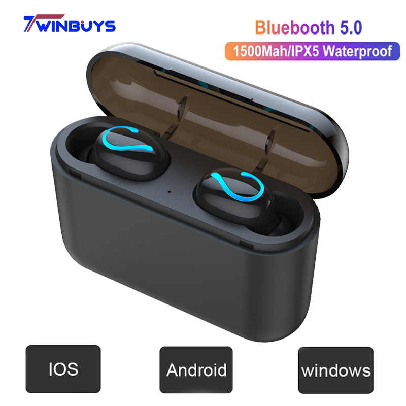 Wireless Bluetooth 5.0 Earphones TWS handsfree headphones Sports Music Earbuds gaming headsets Power bank for Xiaomi iPhone HBQ