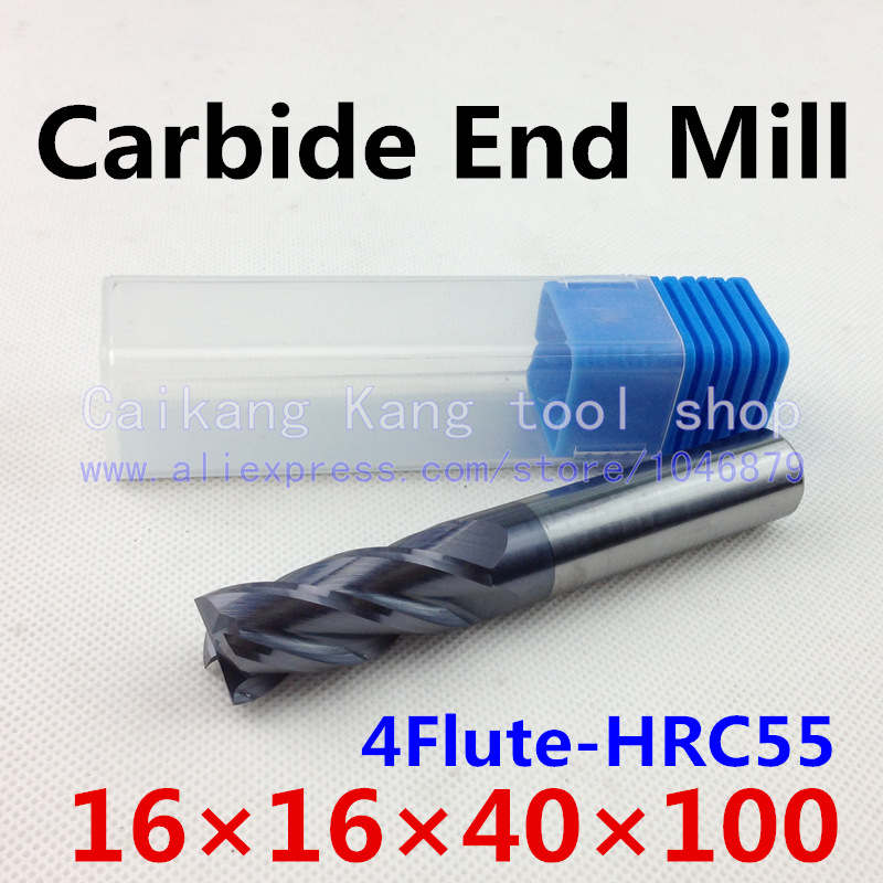 New 4 Flute Head:16mm Tungsten steel CNC Milling Cutter Carbide End mills Highest cutting hardness: 55HRC 4F 16*16*40*100mm