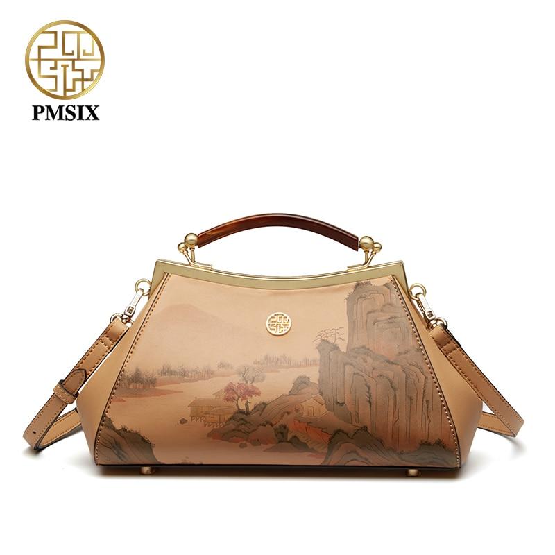 Pmsix modieuze elegante nieuwe stijl dame portemonnee eenvoudige retro printing handtas vrije tijd vrouwen tas P120163-in Top-Handle tassen van Bagage & Tassen op  Groep 1