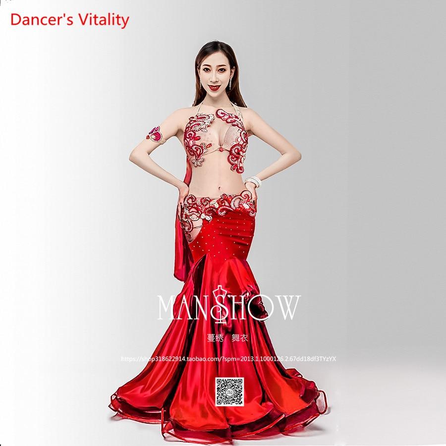 Stage Performance Dance Wear 2018 Women Belly Dance Clothes 6pcs Set Professional Belly Dance Costume Set