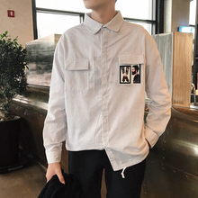2019 Autumn Recommend new listing Fashion casual Korean version Style Long Shirt Teenagers Trend Man The blue White size M-2XL