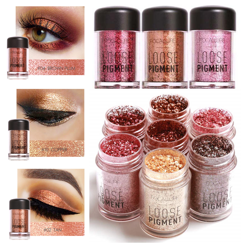 Focallure Brand Glitter Powder Eyeshadow Pigments Waterproof Cosmetics Shimmer Luminous Make Up Nude Eye Shadow Powder
