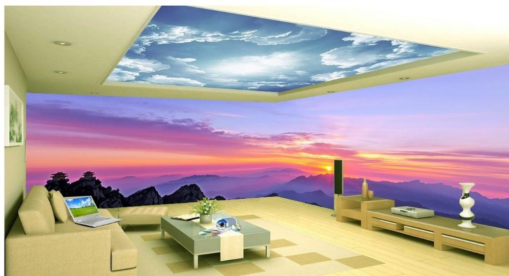 Wallpaper 3d Stereoscopic Sky Pink Clouds Living Room