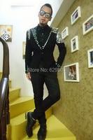 2016 men new style fashion black male singer dancing rhinestone blazer jacket men's slim outerwear DJ stage wear coat costume
