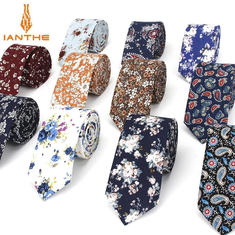 2018 Cotton Men's Colourful Paisley Print Neck Ties For Men Necktie Narrow Slim Skinny Cravate Narrow Thick Neckties Corbatas