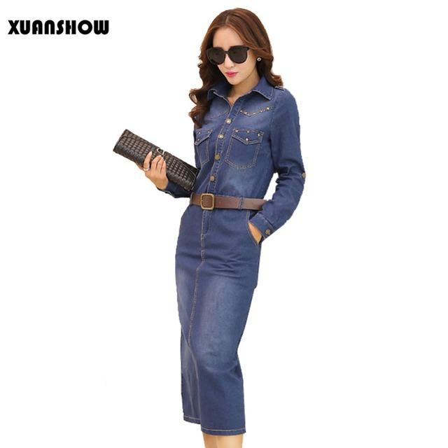 2017 nuevo otoño moda denim dress mujer de manga larga de la vendimia remaches de bolsillo botón dividir vestidos vestidos más el tamaño s-xxl