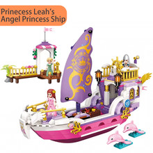 422pcs 2609 Princess Leah Angel Princess Ship Set Wharf Dolphins Minifigs figures Building Blocks Toys Girls Kids Creative Gifts(China)