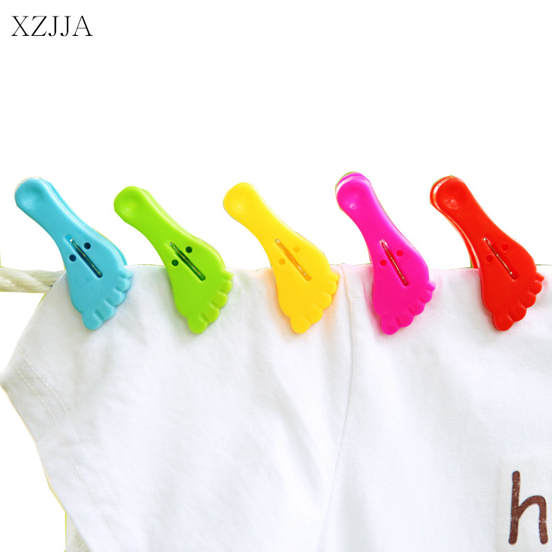 XZJJA 3Pcs Little Feet Clothes Pegs Socks Bed Sheet Towel wind-proof Pins Clips Household Clothespins Arts Photo Paper Clamp