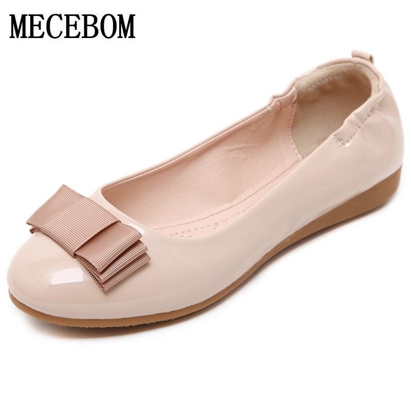 2017 Plus Size Spring\Autumn Fashion Leather Shoes Woman Flats Work Fashion Bowknot Female Casual Ladies Shoes Y9281W beyarne rivets decoration brand shoes flats women spring autumn fashion womens flats boat shoes sexy ladies plus size 11