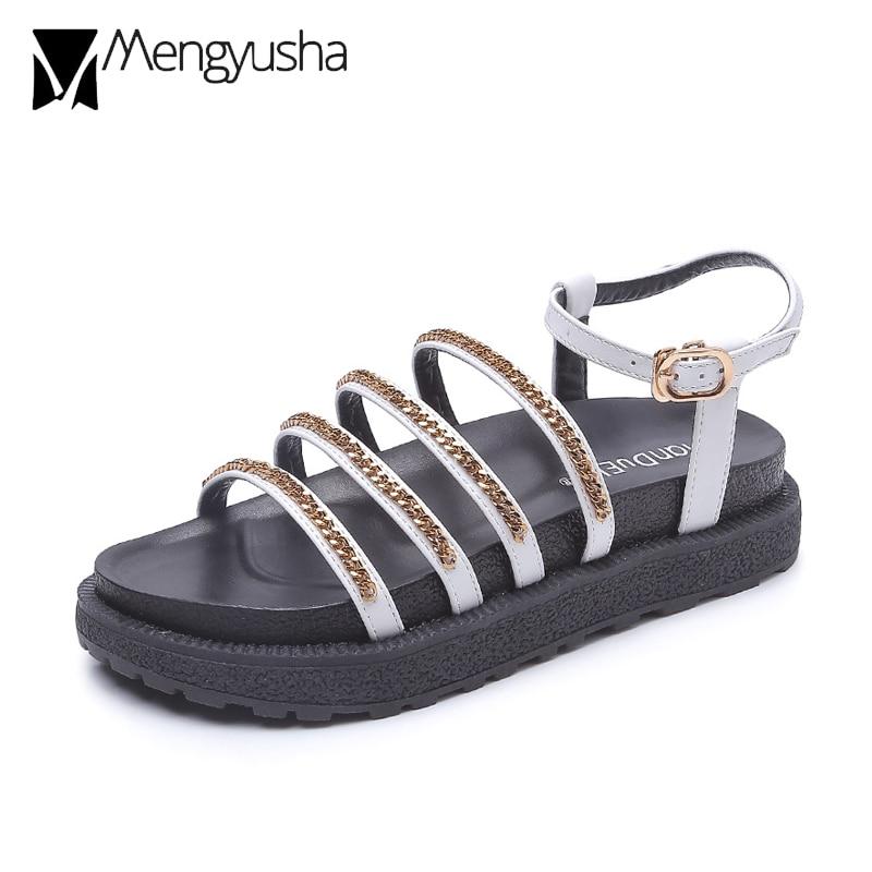 Gladiator Sandals Back-Strap Roman-Style Female Women New Narrow Cutout Chain Muffins
