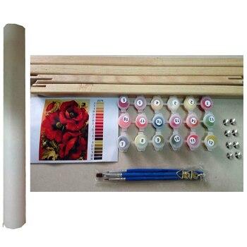 Cadre De Toile Bricolage   Encadré Léopard Animaux Peinture à La Main Par Numéros Acrylique Image Mur Art Toile Décor à La Maison Cadeau Unique 40x50cm Artwo