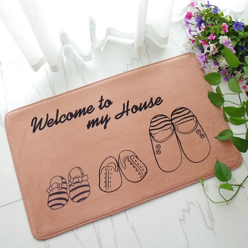 Take Off Your Shoes Keep Clean Door Mat Plush Sponge Anti Slip Floor Mat  Doormat