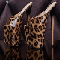 ladies shoes 19c'm Show Buckle Peep Toe Frenulum Glitter Model princess dress Lady stiletto Leopard Print Plus Size 34 46 47