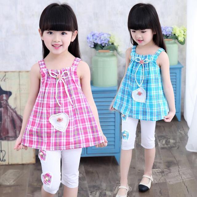 Nifty Design Cotton Baby Girl Clothes Summer Pliad Sleeveless Strap ...