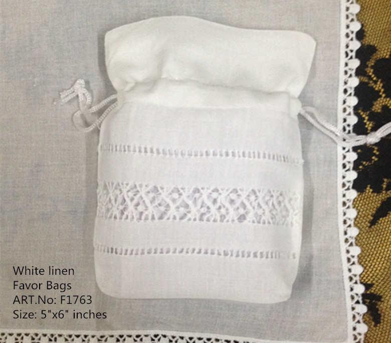 """Bolsos de regalo de boda de moda 50 unids/lote 5 """"x6"""" bolsas de Favor de lino blanco perfecto pueden recoger hermosos pañuelos de boda pañuelos"""
