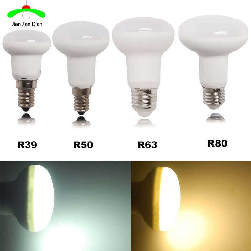 R39 R50 R63 R80 5W 7W 9W 12W Base E27 E14 Led Light Dimmable Umbrella LED Bulb Cool White Warm White AC85~265V SpotLight Lamp