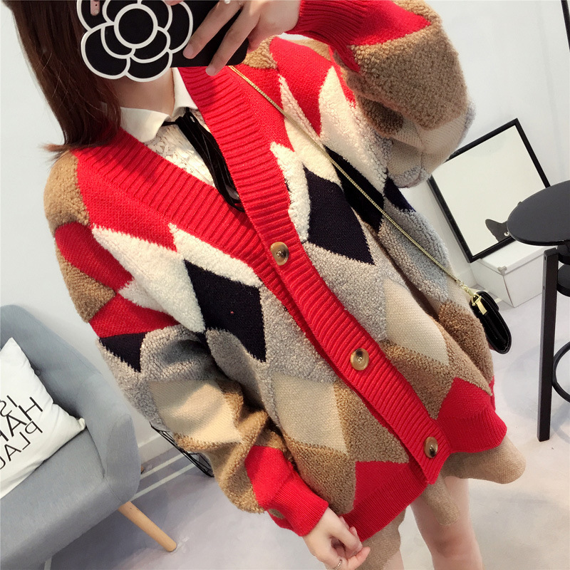 Cardigan Autumn New Diamond Shaped Plaid Pattern In The Long Sweater Korean Version Of The Loose Jacket Sweater Women