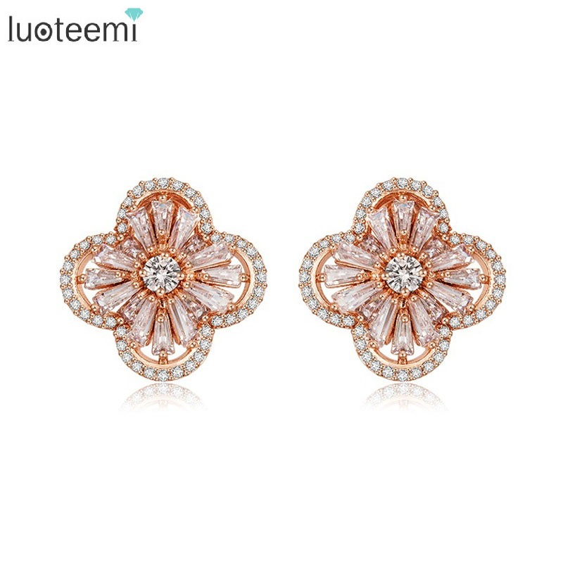 LUOTEE Quality Cubic Zircon Setting Fashion Dubai Rose Gold Color Flower Stud Earrings For Bridal Wedding Jewelry 11 11 sale luxurious pearl clip earrings without piercing for women rose gold color high quality fashion bridal wedding jewelery