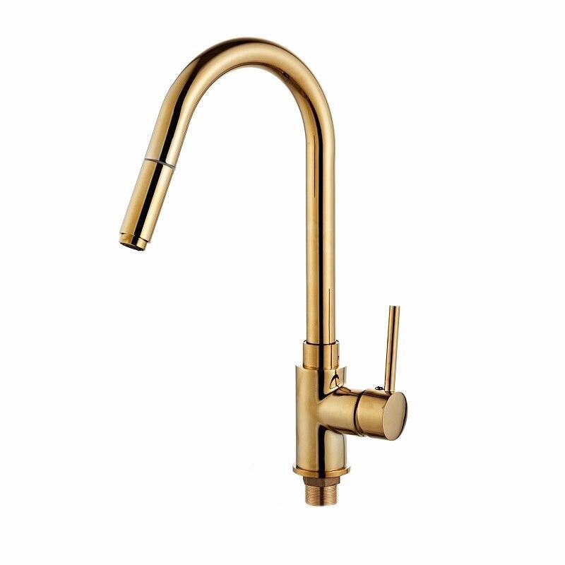 The European copper stretch gold kitchen faucet sink undercounter kitchen sink faucet telescopic faucet LU50914 sink faucet