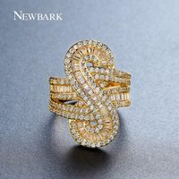 NEWBARK New Lucky Number 8 Ring Stylish Dollar Shape Finger Rings Valentine S Day Gifts Gold