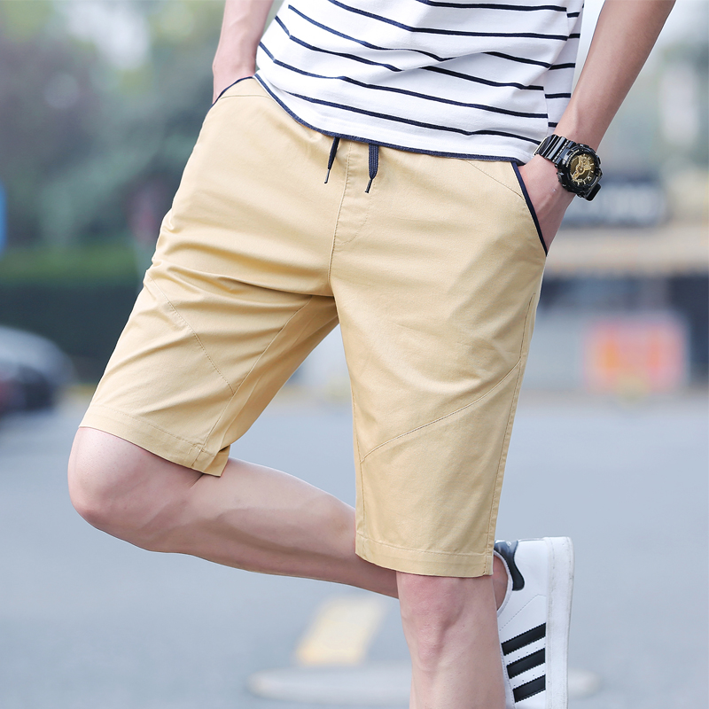 Khaki Shorts Men 2018 Summer Mens Clothing Solid Cotton Slim Bermuda Masculina M-5XL Drawstring Knee Length Casual Men Shorts ...