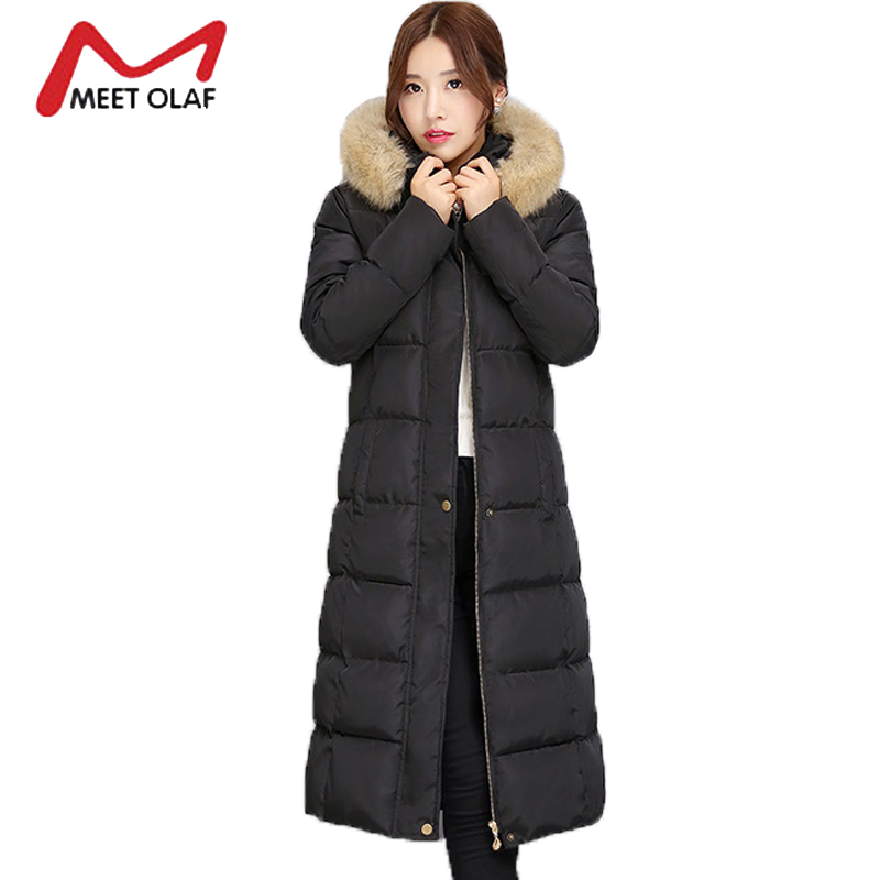 2017 Winter Down Jackets Women Winter Coats Fur Hooded Female Long Cotton Padded Parkas Outwear  jaqueta feminina inverno Y1489