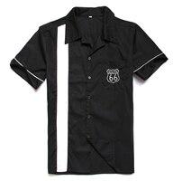 החולצה של הגברים vintage רוק של בגדים בסגנון מערבי קאובוי קצר חולצות שרוולים מועדון מסיבת היפ הופ דפוס שחור לבן ארה