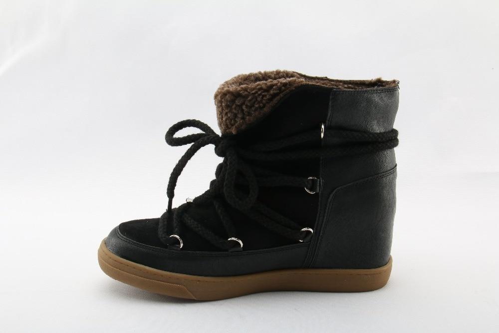 Зимние теплые ботинки на меху; Цвет черный, коричневый; кожаные женские ботильоны на танкетке; женская повседневная обувь на шнуровке, визуально увеличивающая рост - 4