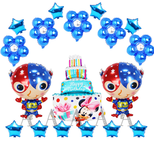 18pcs Lot Childrenn Toy Captain America Foil Balloons For Happy Birthday Set Flower Cake Star Style Air Ballons