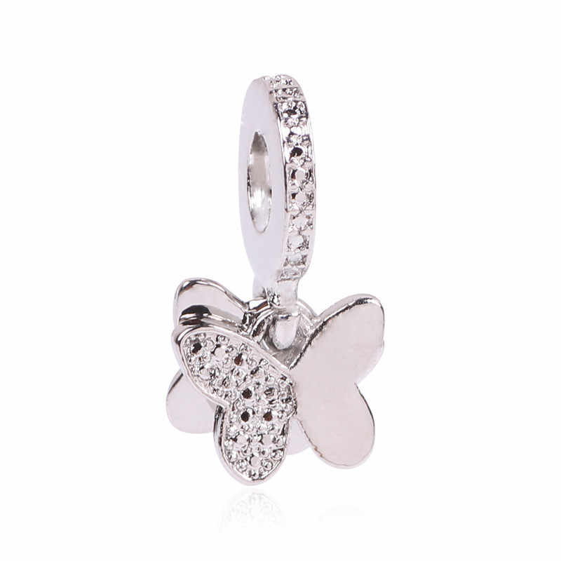 2019 DIY Cute New 925 Silver Bead Charm Crystal 1 Pair Butterflies DIY Charms Pendant Fit Pandora Bracelets & Bangles Jewelry