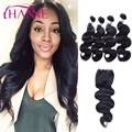 4 Bundles Peruvian Body Wave With Closure 7A Virgin Human Hair Weft With Lace Closure Hanne Rosa Beauty Peruvian Hair Products