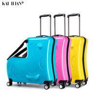 Enfants roulant bagages Spinner valise à roulettes enfants cabine Trolley sac de voyage enfant mignon bébé porter sur le coffre peut s'asseoir pour monter