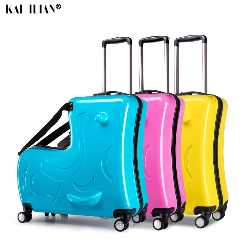 new Kids Riding Trojanl Luggage Hot Boys Girls Travel Trolley Alloy Children Sitting Rolling Luggage Suitcase Spinner Wheels